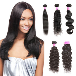 Wholesale Indian Remy Kinky Curly Hair - 8A Body Wave Brazilian Virgin Hair Straight Deep Wave Kinky Curly Water Wave Peruvian Hair Weave Bundles Unprocessed Indian Hair Extensions