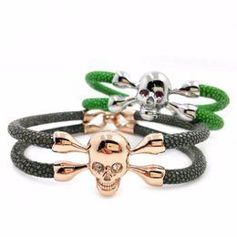 Wholesale Fishing Slide - Beichong Black Stingray Bracelet & Black Color Stainless steel Skull Bracelet With Black Eyes Men's Jewelry For Watch