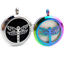 Wholesale silver dragonfly necklace pendants - Round Silver Dragonfly (30mm) Essential Oils Lockets 316 Stainless Steel Perfume Diffuser Lockets Aromatherapy Lockets with Chain