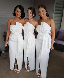 Wholesale Split Front Strapless Wedding Dress - New Fashion Bridemaid Dresses 2017 Sheath Front Split Satin Wedding Guest Gowns Off the Shoulder Plus Size Maid of Honor Dress