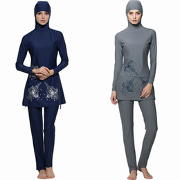 Wholesale Girl S Swimsuits - Full 2017 Cover Islamic Swimwear Women Modest Full Cover Arab Beach Wear Hijab Swimsuit Swimwear Burkinis for Muslim Girls Women Burkini