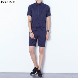 Wholesale Korean Men Short Pant Fashion - Wholesale- 2016 New Summer Korean Men's Fashion Short-sleeve Slim One piece Rompers Hiphop Tooling Jumpsuit Blue Black Overalls Pants