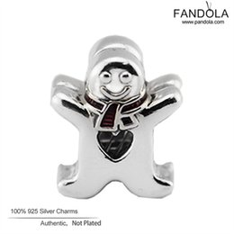 Wholesale Gingerbread Man Wholesale - Wholesale- Christmas Gift 925 Sterling-Silver-Jewelry Sweet Gingerbread Man Charm Beads for Jewelry Making Fits European Charms Bracelet