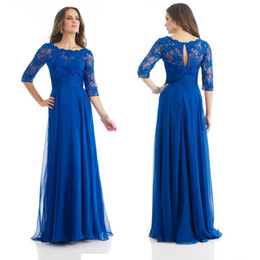 Wholesale Vintage Art Deco Fabric - 4 Long Sleeve Sexy Open Back A Line Floor Length Chiffon Fabric Blue Lace Evening Party dresses 2017