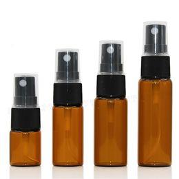 Wholesale 15ml bottle spray - 500pcs lot 5ml 10ml 15ml 20ml Glass pump Spray Bottles Amber Perfume Atomizer With Black Cap Portable Cosmetics bottles Wholesale For Travel