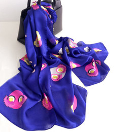 Wholesale Silk Scarf Hijabs - 180*70cm Fashion Print Lady Mulberry Silk Big Rectangle Scarf Printed 100% Pure Silk Pashmina Shawl Wraps Fashion Hijabs Capes