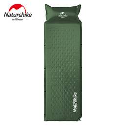 Wholesale Outdoor Pillows Blue - Wholesale- Outdoor Self-inflating Camping Mat With Pillow 3 Colors 1850x600x25mm Air Mattress Tent Bed Single Laybag Sleeping Mat 1kg
