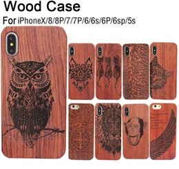 Wholesale Iphone Luxury Retro - Genuine Wood Case For Iphone X 6 7 8 Hard Cover Carving Wooden Phone Shell For Apple Iphone 7 Plus Bamboo Housing Luxury Retro Protector