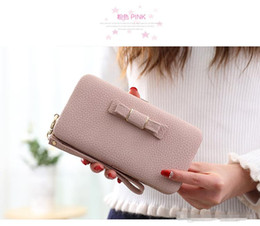 Wholesale Lovely Bowknot Wallet - Candy Color Lady Wallets Lovely Bowknot Multi Function PU Leather Purse Handbag Hasp Zipper Handbag Coin Purse Credit card Holder Totes v230