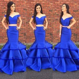 Wholesale Hot Dark Blue Mermaid Dress - Stunning Layer Ruffles Royal Blue Two Pieces Prom Dresses Hot Mermaid 2017 Off Shoulders Floor Length Satin Party Evening Gowns Formal Wear