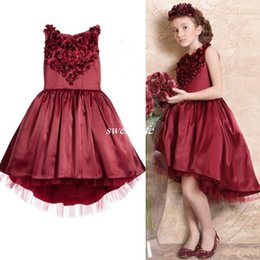 Wholesale Girls Satin Petal Dress - Burgundy High Low Gown Flower Girl Dresses Special Occasion For Weddings Knee Length Kids Pageant Sleeveless Petal Applique Communion Dress