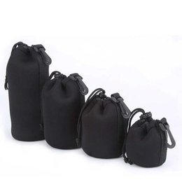 Wholesale Dslr Lens Cover - ITSYH Soft Black Small DSLR Camera Lens Protector Drawstring Pouch Bag Bagpack Case Waterproof Cover 4 pcs Size XL L M S TW-369