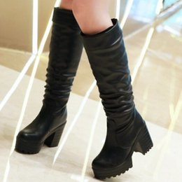 Wholesale White Rubber Combat Boots - Wholesale-fashion platform thick heel high boots for women fashion fold combat boots Black white knee boots