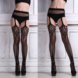 Wholesale Sexy Lace Fishnet Thigh - Wholesale- Sexy Lingerie Lace Garter Belt Set with Fishnet Mesh Thigh High Stockings Pantyhose for Women Free Shipping&Wholesale