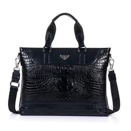 Wholesale Texture Dress - Wholesale- Brand premium Alligator texture Genuine Leather men business briefcase crocodile pattern Top Layer Cowhide Leather laptop bag