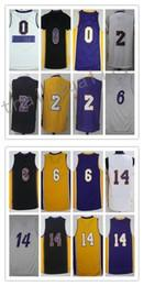 Wholesale Young 14 - Men Basketball Retro Lakerz #0 NICK #0 YOUNG #2 BALL #6 CLARKSON #14 INGRAM White Purple Balck Yellow Jerseys Short