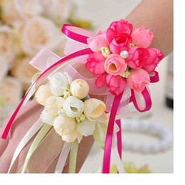 Wholesale Wrist Rose Bridal - Artificial Rose Bride Wrist Flowers Bridesmaid Sisters hand flowers For Wedding Party Decoration Bridal Prom WA1934