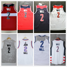 Wholesale Embroidery Men Wear - 2017 # 2 John Wall men basketball Jerseys white red navy blue throwback mesh Embroidery Stitched vintage Basketball Wear cheap wholesale