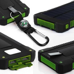 Wholesale Solar Led Home - compass solar power bank waterproof Portable Charger Battery Dual USB powerbank Externa pack for mobile phone with LED Light