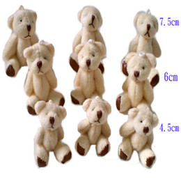 Wholesale Soft Teddy Bears Wholesalers - Wholesale- Wholesale 4.5CM Teddy Bear Mini Soft Plush Keychain Bear Bouquet Toy Children Christmas Decoration Gifts 100pcs J813