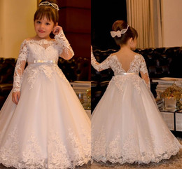 Wholesale Off White Princess Wedding Gowns - 2017 Cute Off Shoulder Bateau Long Sleeves Flower Girls' Dresses With Sash Princess Lace Appliques Tulle Wedding Girls Dresses Backless Gown