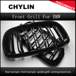Wholesale Plastic Grills - 2PCS X5 X6 ABS Framed Dual Slat Grill Front Kidney Grille Fit for BMW F15 F16 Bumper with M Emblem Gloss Black 2015 2016