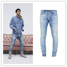 Wholesale West Denim - High Street Fashion Men Pants Jeans 2018 Stage Rockstar Denim Moto 29-36 FOG Blue Kanye West FEAR OF GOD Skinny Jeans