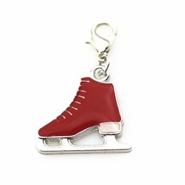 Wholesale Ice Skates Necklaces - Hot selling 20pcs lot ice skates lobser clacp dangle charms DIY jewelry accessories hanging necklace floating charms