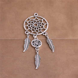 Wholesale jewelry made feathers - 5 pcs lot Metal Antique Silver Bronze Feather Dream Catcher Heart Shape Pendant Jewelry Making Diy C0308