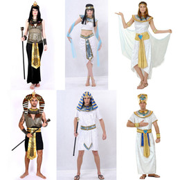Wholesale Women Cleopatra Costume - Q228 Halloween Costumes Ancient Egypt Egyptian Pharaoh King Empress Cleopatra Queen Priest Costume Cosplay Clothing for Men Women