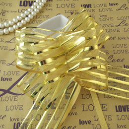 Wholesale organza gift bows - Free shipping--50pcs lot 5cm Large Size Gold Color Organza Pull Bows For Wedding Car Decor Wedding Organza Pull Flower Ribbons Gift Wrap
