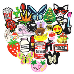 Wholesale Embroidered Appliques - Diy patches for clothing iron embroidered patch applique iron on patches sewing accessories badge stickers for clothes bag 20pcs