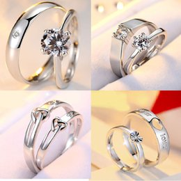 Wholesale Couples Rings Japan - Japan and South Korea Hand Act The Role of Silver Ornament Lovers To Open Mouth Zircon Ring Silver Ring Married Mustard