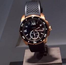Wholesale Rose Gold Watch Calibre - New style Mens Watces Automatic 6 DIVER Two Tone Rose Gold Rubber Strap CALIBRE DIVER'S Watch Mechanical dress sport Men's Wristwatches