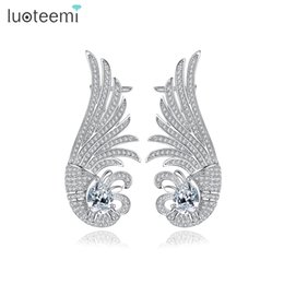 Wholesale Ear Cuffs Cz - LUOTEEMI New Luxurious Ear Cuff White Gold Color Clip on Earrings Earclips for Women Girls Fashion Shining CZ Jewelry Gift