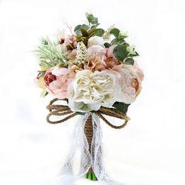 fã de ouro rosa Desconto Buquês De Noiva De Casamento Artificial Flores Artesanais Strass Subiu Fontes Do Casamento Noiva Segurando Broche De Noivado De Noiva Em Estoque