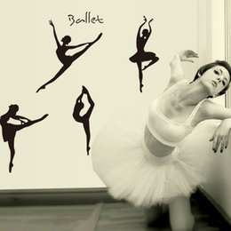 Wholesale Removable Wall Stickers Ballet - Ballet Girls Wall Stickers DIY Art Decal Removeable Wallpaper Mural Sticker for Bedroom Living Room AY9061