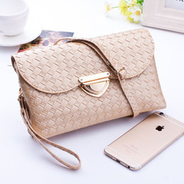 Wholesale Knit Cross Body Bags Black - Womens Clutch Bags and Purses Fashion Quilted Knitting Hasp Shoulder Bags Women Weave Wallet Evening Party Handbags