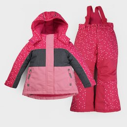 Wholesale Children Thermal Sets - Wholesale- High-end Autumn Winter Children Outdoor sports Skiing Snowboard Thermal Suits Hiking Jacket+Pants Girls Waterproof Camping Sets