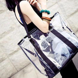 Wholesale Transparent Shoulder Candy Handbags - Wholesale-Transparent Tote Bag Women's Handbag Crystal Large Beach Bags Candy Color Jelly Bags Girls Waterproof Big Shoulder Summer Bags