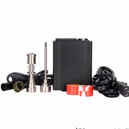 Controladores de agua caliente online-E Hot Clavo eléctrico Nail Box Kit completo E Controlador de temperatura con titanio Nail Carb Cap Kit para Bongs de vidrio pipa de agua