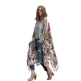 Wholesale Floral Chiffon Kimono - Summer Style Women Long Chiffon Kimono Cardigan Blusa Feminina Casual Shirts Jackets Long Beach Cover Up Tops blusa femin