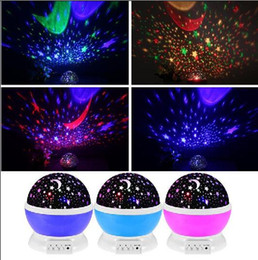 Wholesale Star Night Lamps - best gifts! Romantic Led Night Lamp Rotating Starry Star Moon Sky Rotation Night Lighting Projector Lamp Kids Children Baby Sleeping Lights