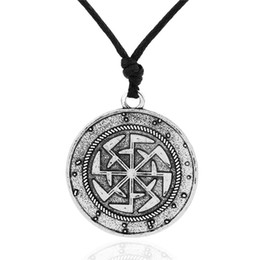 Wholesale Russian Gold Chains - Vintage Design Russian Sun Talisman Power Antique Slavic Religion Antique silver and Gold Plated Pendant Necklace For Men and Women