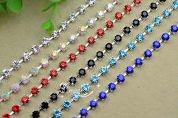 Wholesale Ss28 Rhinestone Chain - SS28 Handmade Color Rhinestone Chain Trims x 1 Yard Garment Accessories