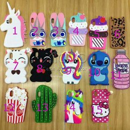 Wholesale Hat Cases - Cute 3D cartoon Tiger hat Bear cat horse ice cream drink bottle Soft Silicone Phone cover for iPhone X 8 6 6s 7 Plus cover Back Funda Coque