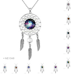 Wholesale Red Nebula - ANTIQUE Tibetan Silver Nebula Galaxy Outer Space Glass Dome Cabochon Charm Necklaces For Women Girls Adjustable Friendship Jewelry