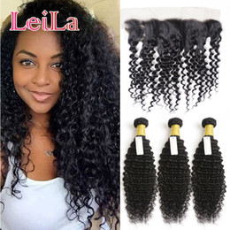 Wholesale 28 Curly Hair Extensions - Human Hair Extensions Weft Malaysian Deep Wave Curly 3 Bundles With 13 X 4 Lace Frontal Hair Weaves Hair Bundles With Frontal 4 Pieces lot