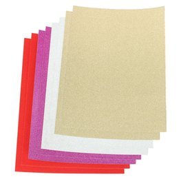 Wholesale Glitter Sheeting - Wholesale-New Arrival High Quality A4 Glitter Card 10 Sheets Same Colour Soft Touch For DIY Invitations Party Decor 4 Colors