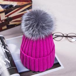 Wholesale Christmas Lady Hot - hot sale beanie skull caps hats 12cm fox fur ball wool ladies fashion thick warm fur knit hat